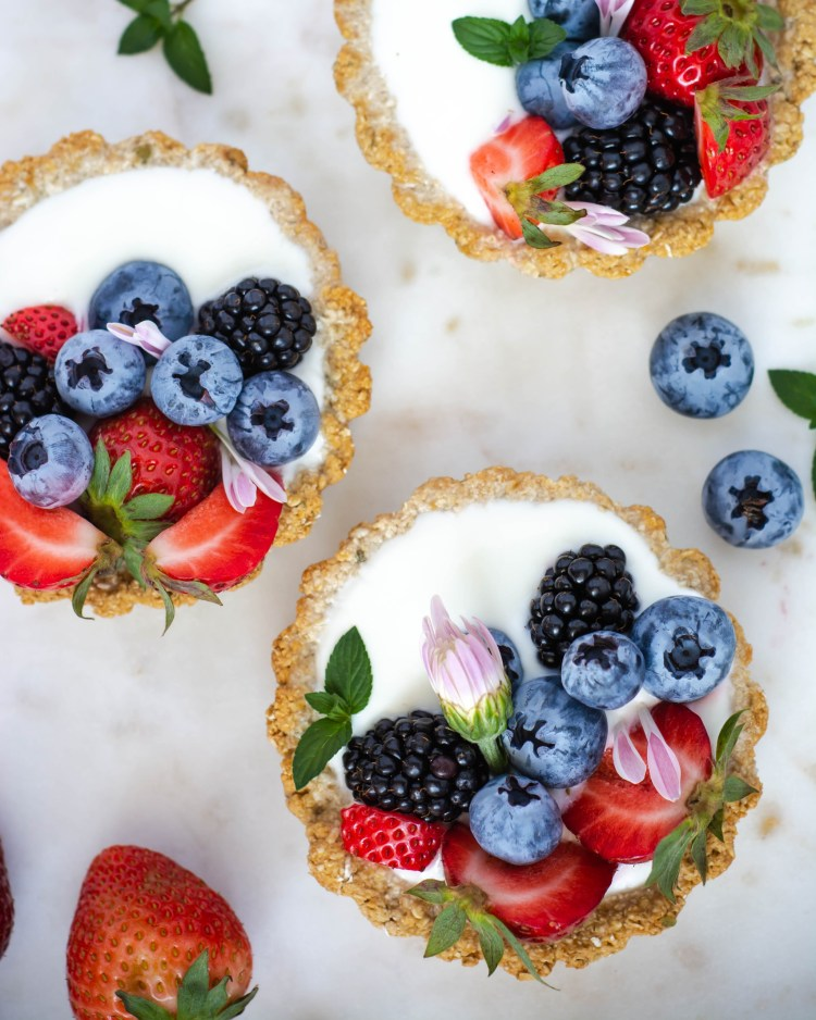 Three Breakfast Tarts on a serving tray