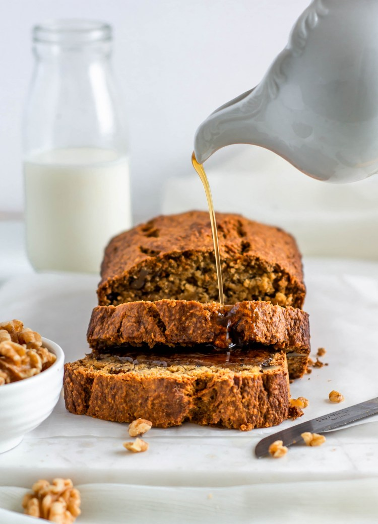 Walnut Banana Bread with maple drizzle