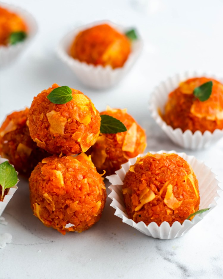 carrot truffles in a group