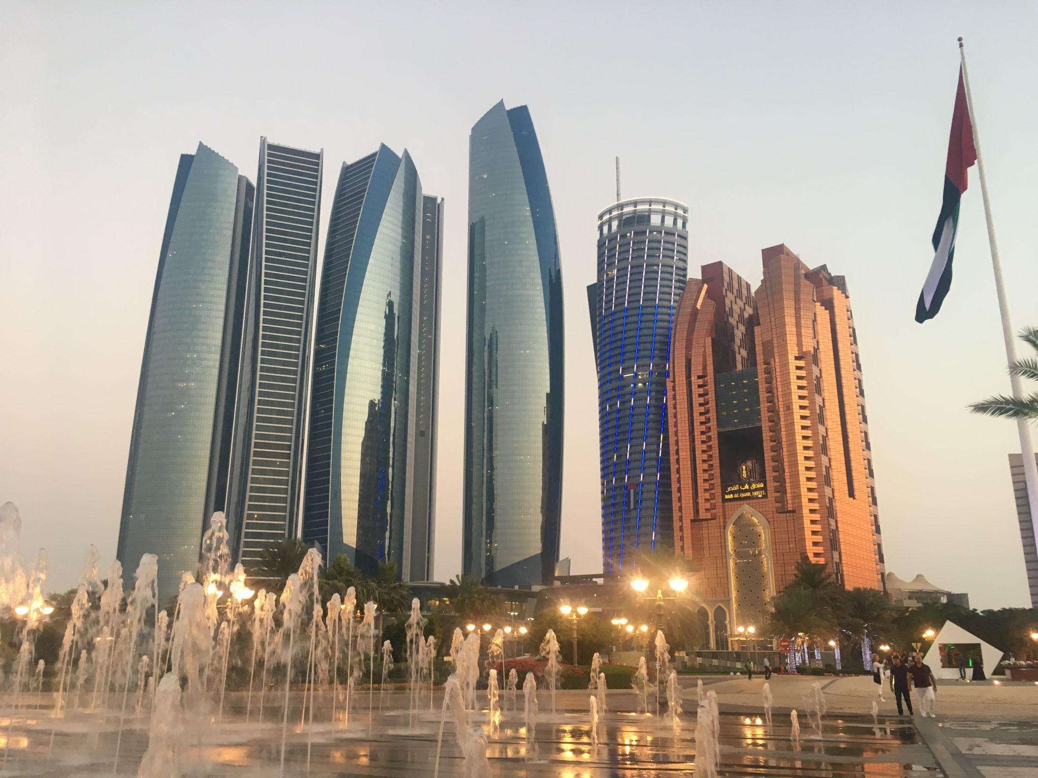 Abu Dhabi skyline and Etihad Towers