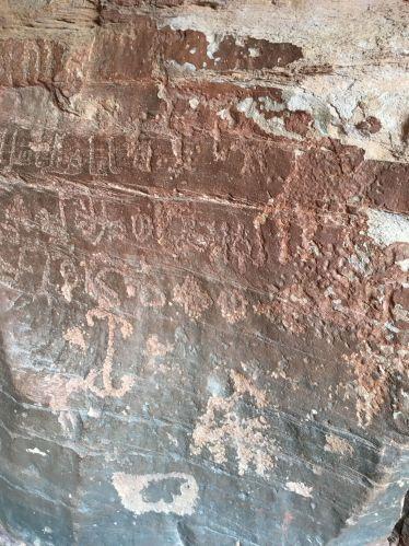 Ancient writing in Khazali Canyon, Wadi Rum