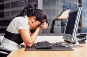 Is it time to find another job - woman upset by her computer at work