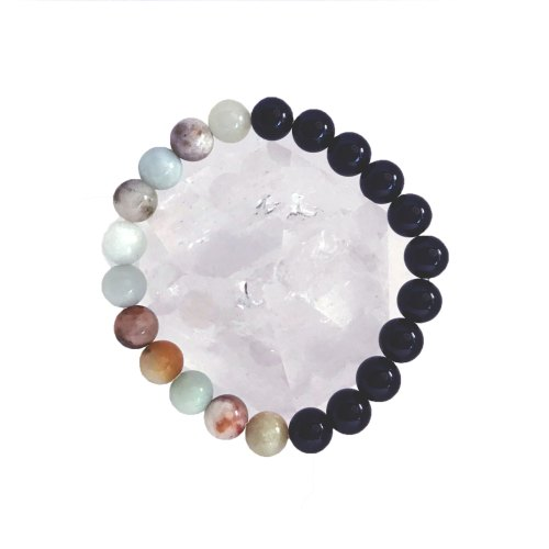 8mm Shiny Amazonite Onyx Bracelet