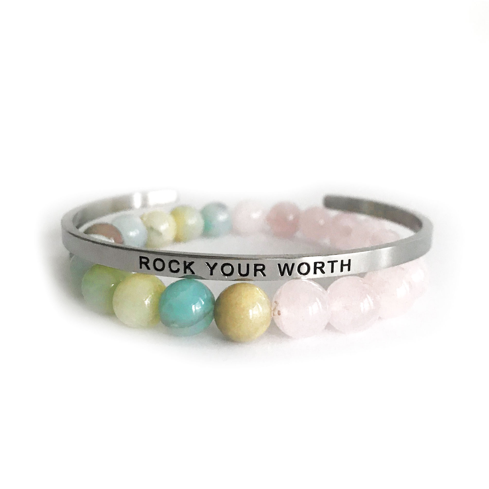 Rock Your Worth 8mm Amazonite & Rose Quartz