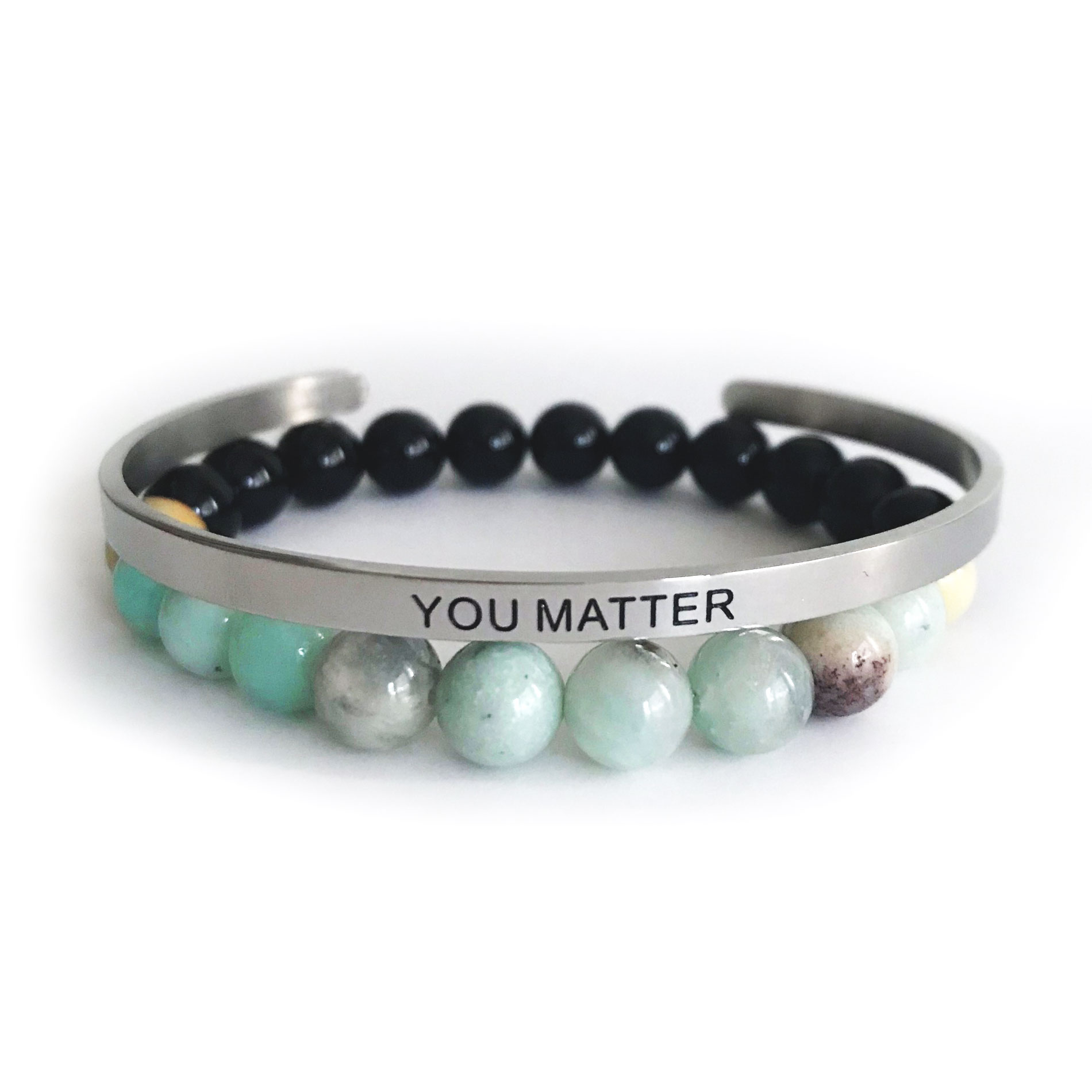 8mm Shiny Amazonite & Onyx Bracelet