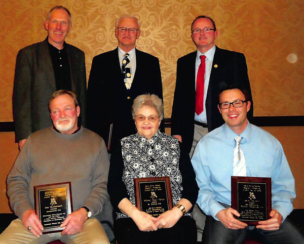 2012 Mayo Civic Center Region I Hall of Fame Class Front (L-R): Don Mullenbach, Mrs. Pat Tollin, and Tim Mauseth. Back (L-R):Steve DeVries, Darrel Jaeger, and Bill Olson.