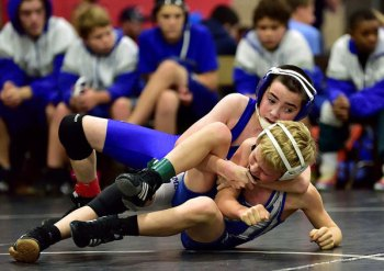 Jacob Gentile puts a cradle on his opponent.