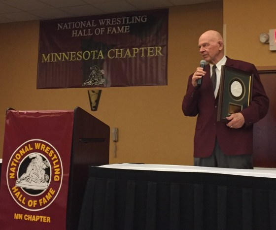 National Wrestling Hall of Fame Minnesota Chapter 2016 Honoree Jim Raschke at The Podium.