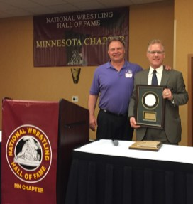Dennis Koslowski with National Wrestling Hall of Fame Minnesota Chapter 2016 Honoree Dr. B.J. Anderson.