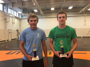 Greg Schwartz Memorial Wrestling Camp MVWs (Most Valuable Wrestlers) - Doug Cardwell of MAHACA and Weston Roberg of Paynesville Area.