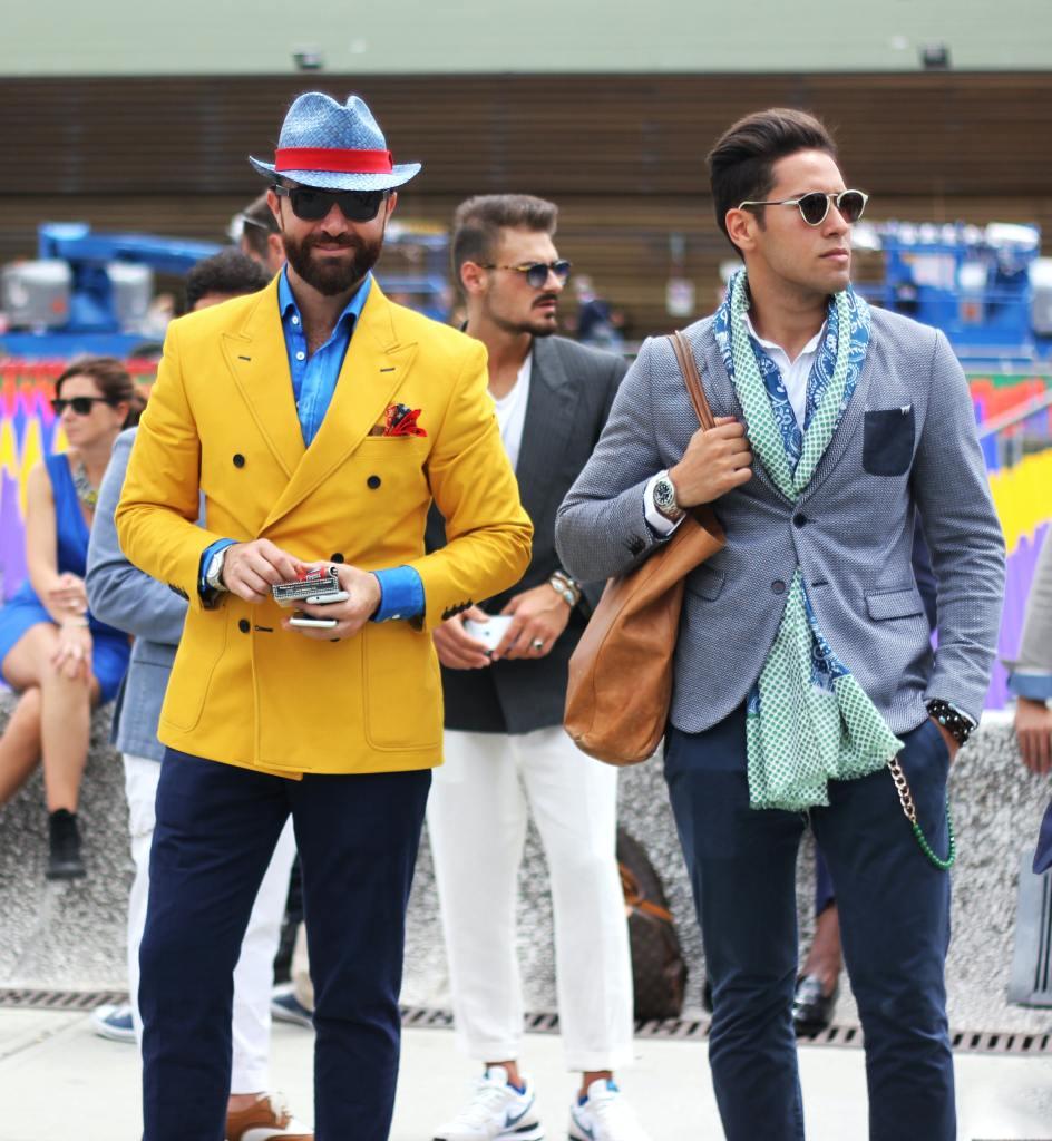 2 fashionable men on street