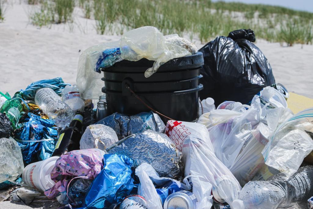 plastic bags and trash bins
