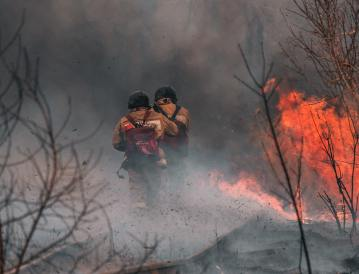 firefighters in a wildfire