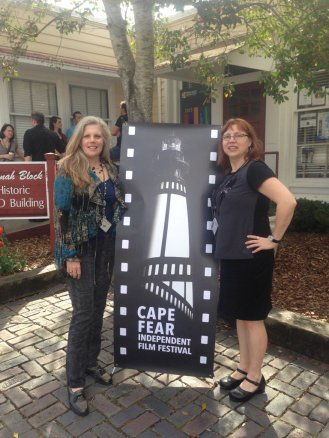 Susan Robbins and Denise McGill pose for a photo at Cape Fear Indpendent Film Festival between film screenings.
