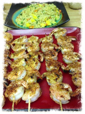 The result of grilling - curried shrimp and mango couscous