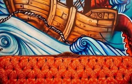 Bright orange sofa that has undergone re-upholstery Glasgow