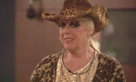 Julie Goodyear grimacing on Big Brother