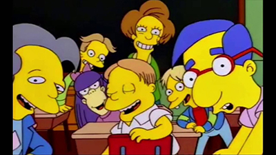 Simpsons class waiting for Bart to say the line