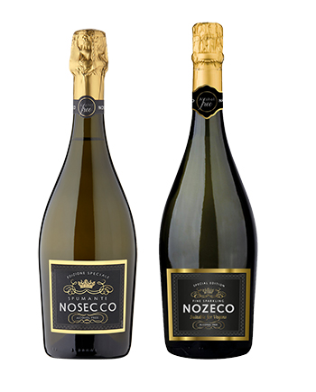 A bottle of Nosecco next to a bottle of Nozeco