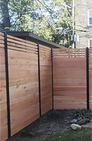 Horizontal Fence Modern Top Design on Powder Coated Posts
