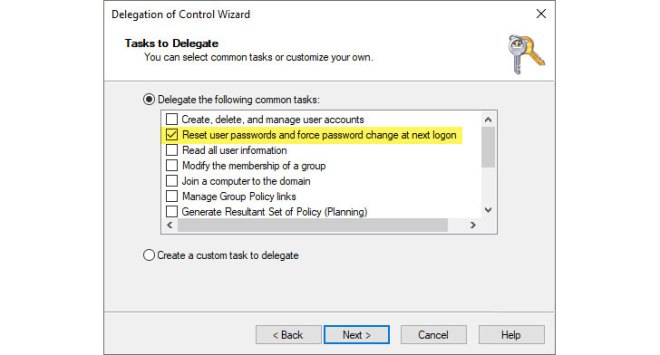 Choosing the Reset user passwords and force password change at next logon option