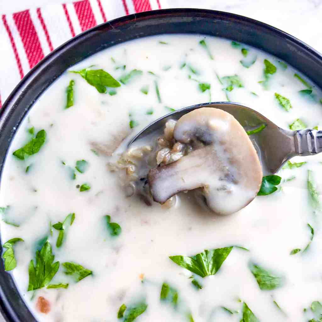 """Slow Cooker """"Creamy"""" Wild Rice and Mushroom Soup"""