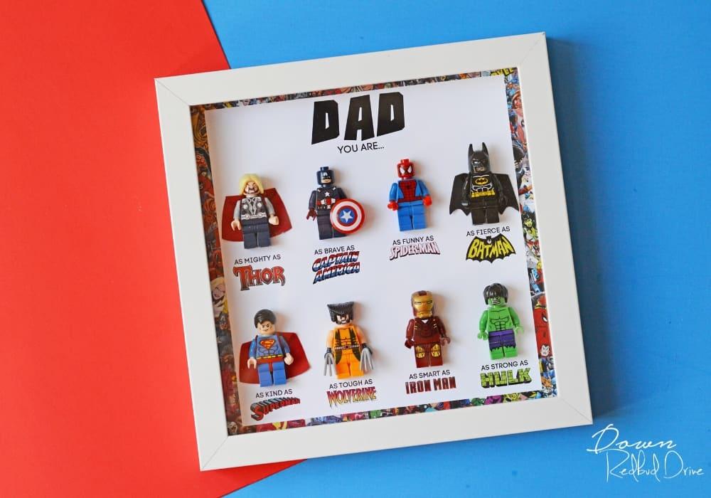 DIY Father's Day Superhero Shadowbox by downredbuddrive.com