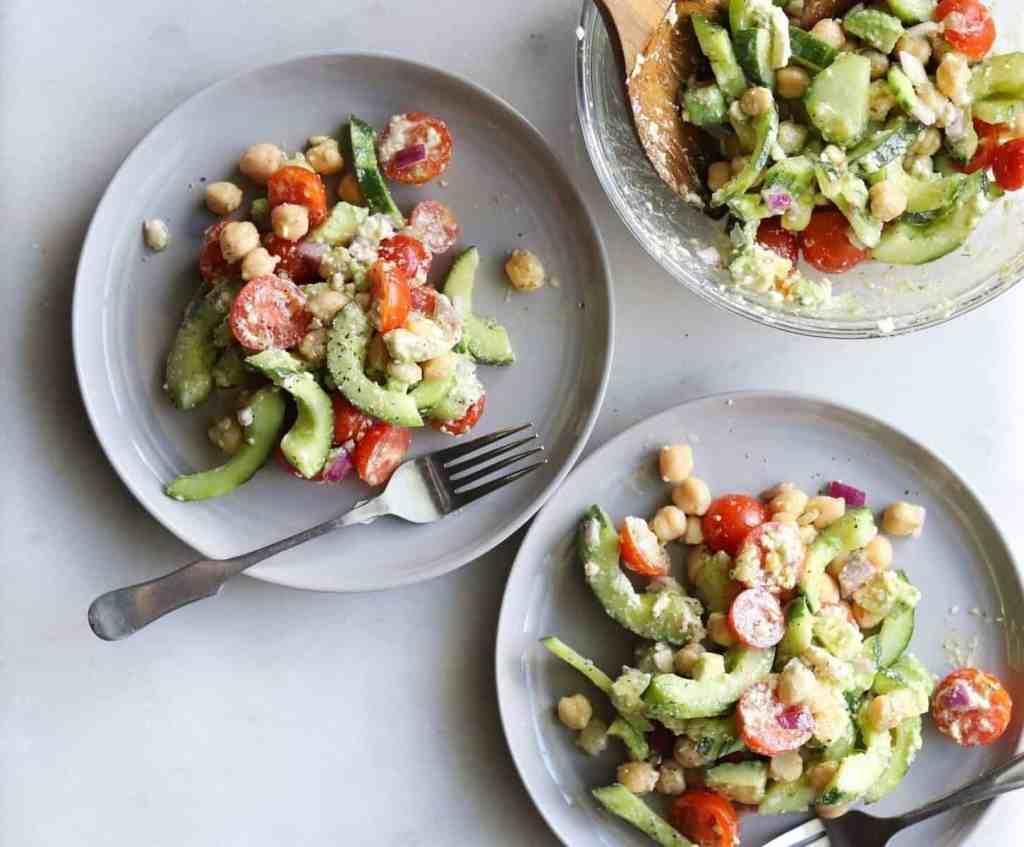 Greek Chickpea, Avocado, & Cucumber Salad by cookathomemom.com