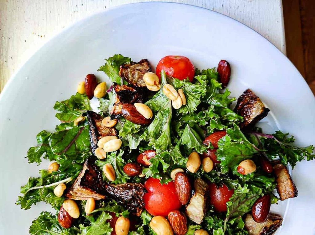 ROASTED RAINBOW BEET AND KALE SALAD WITH MAPLE NUTS by coupleofseeds.com