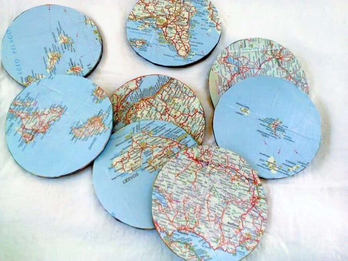 DIY Map Coasters for Fathers Day by theboondocksblog.com
