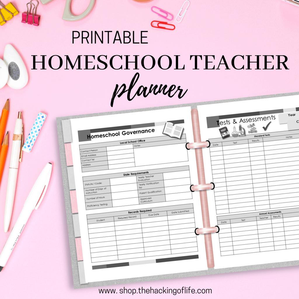 Homeschool teacher planner printable