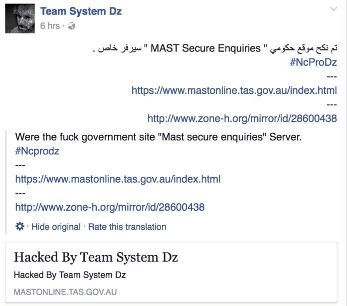 Screenshot of official post about the attack on the hackers collectives Facebook page.