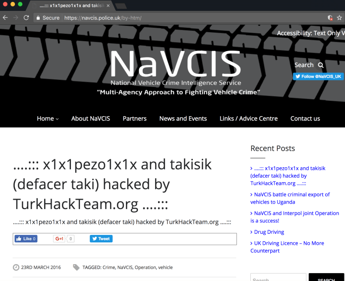 Screenshot of navics.police.uk defaced a second time by hacking group TurkHackTeam
