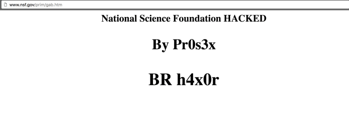 Screenshot of the deface page uploaded Pr0s3x on National Science Foundation Website (NSF.GOV)