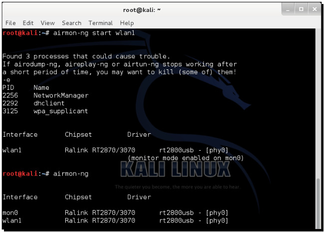 Now enter airmon-ng start wlan1 command to create a monitor mode interface corresponding to the wlan0 device. This new monitor mode interface will be named mon0. (You can verify if it has been created by running airmon-ng without arguments again).