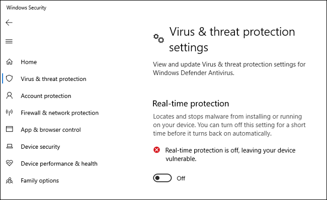 How To Turn-OFF Real Time Protection on Windows 10