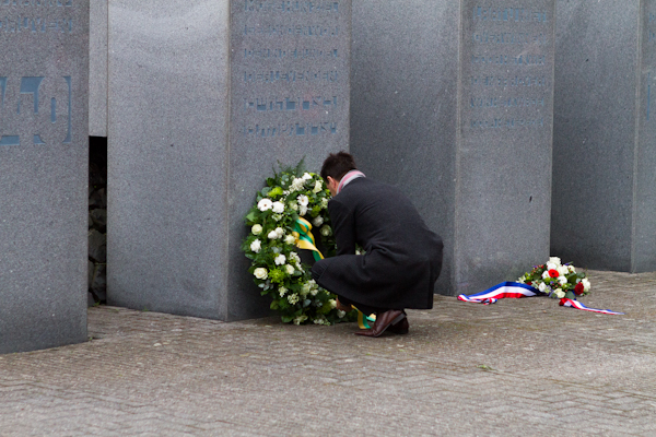 Laying a wreath on Remembrance Day