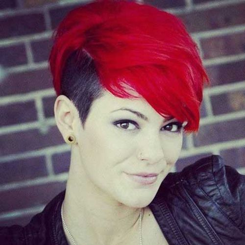 red hair with black shaved temple