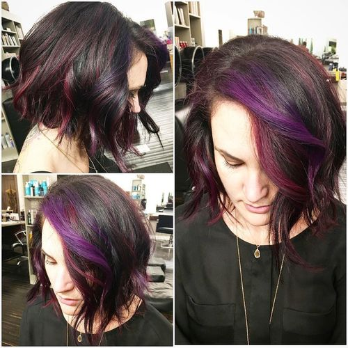 Black Bob with Purple Curls
