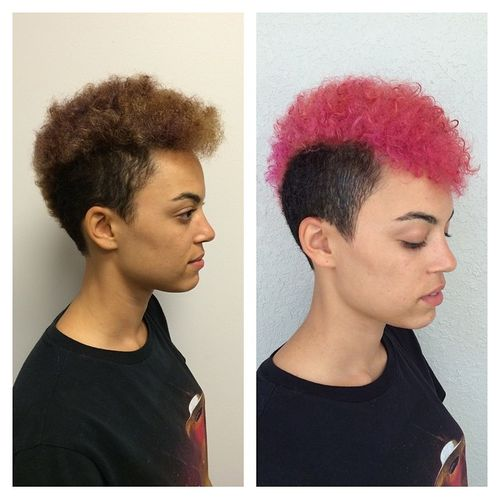 Pink and Brown Pixie Mohawk with Curls