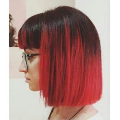 Fiery Red Bob with a Straight Fringe
