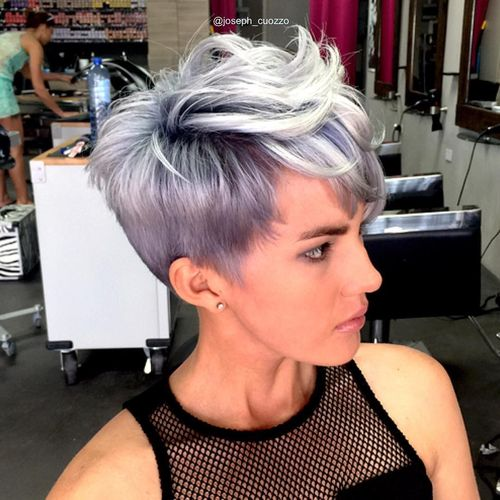 Light Grey Pixie with Oblique Fringe and Dark Roots
