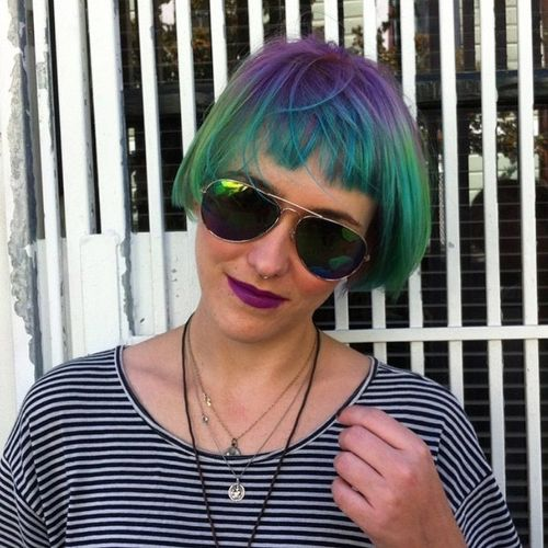 Turquoise and Purple Bob with Short Fringe