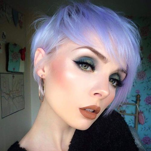 Light Blue Pixie with Oblique Bangs
