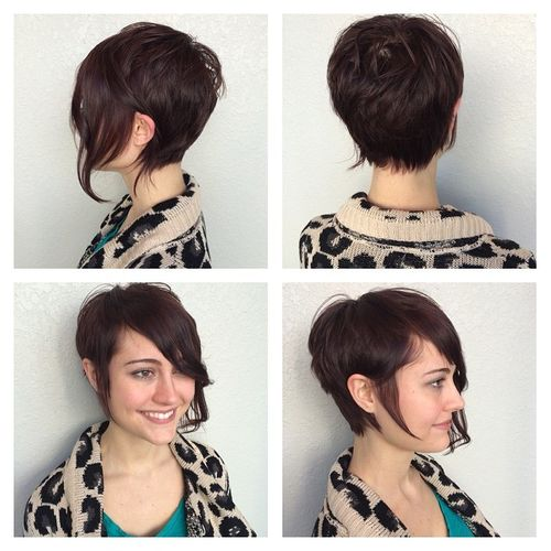 Attractive Dark Brown Pixie with Long Fringe