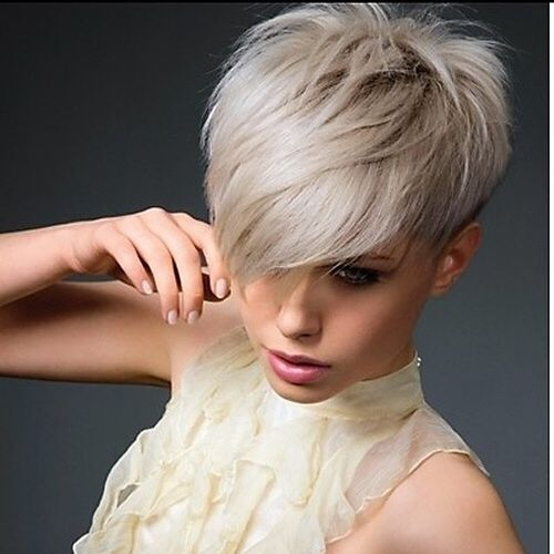 Blonde Cool Pixie with Oblique Bangs