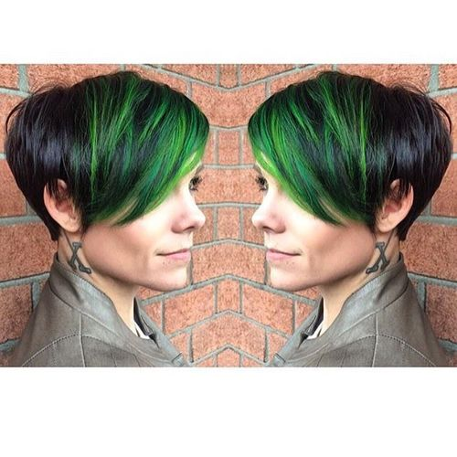 Black Pixie with Green Oblique Bangs