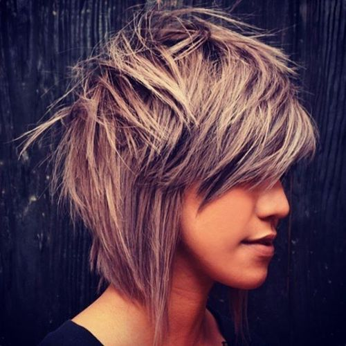 Grey Cascade Haircut with Oblique Fringe
