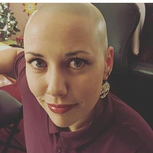 completely shaved hair